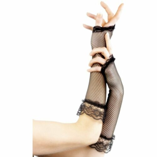 Burlesque Punk Fingerless Fishnet Gloves Black Adult Womens Fancy Dress Accessor