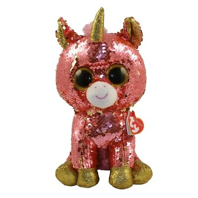 "2019 TY 9/"" Medium Flippables SUNSET Unicorn Beanie Boos Buddy Sequin Plush MWMTs"