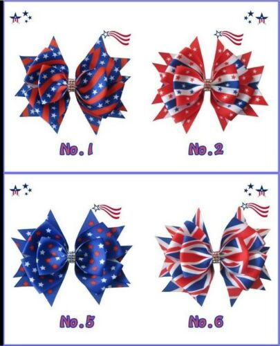 "100 BLESSING Good Girl 4.5/"" Stylish Hair Bow Clip National Flag Independence Day"