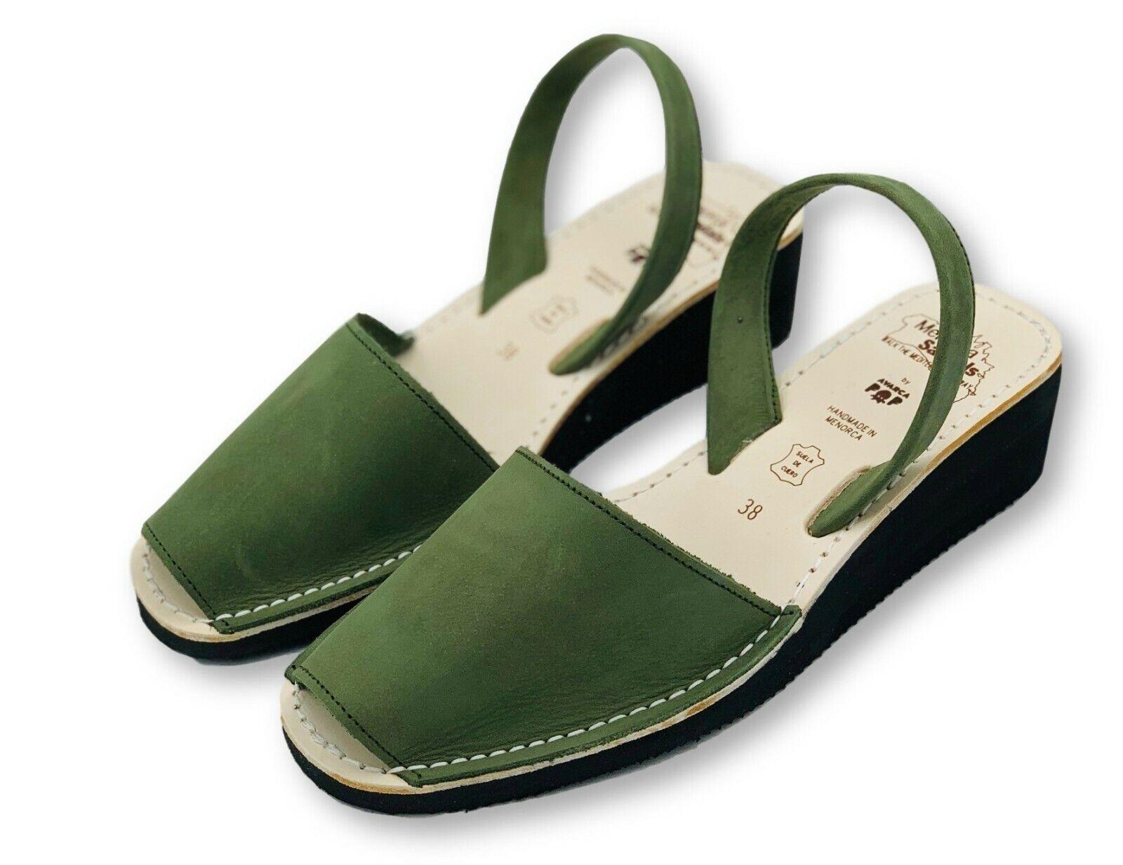 Menorca Sandals Green Mid Wedge Avarcas, Original Handmade in Menorca Wedge