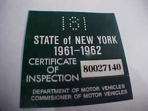 New York 1961 1962 Registration Inspection Sticker Windshild