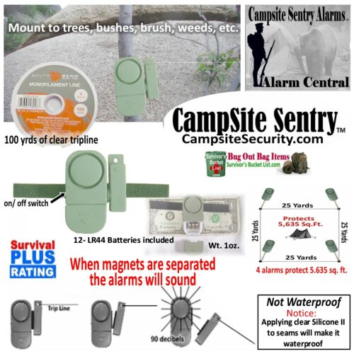 1 Military style trip alarms-100yds trip line covers 5650sq.ft. Camp Alarm