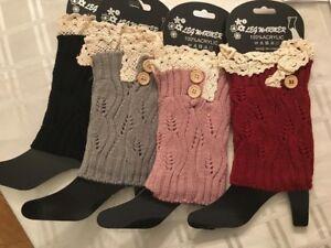 new ladies leg  warmers  knit crochet lace legging...lot of 3 pairs