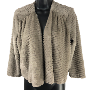 Sunny-Leigh-Brown-Fuzzy-3-4-Sleeve-Cropped-Open-Front-Jacket-Women-039-s-Size-Small