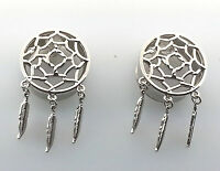 Famous Classic Silver Dreamcatcher Feather Dangle Ear Plugs :( 6 To 1 Inch )