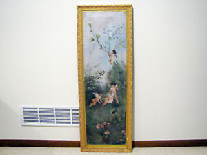 2-LARGE-Antique-OIL-ON-CANVAS-PAINTING-CHERUBS-PLAYING-IN-FLOWERS