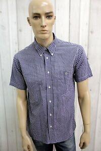 LACOSTE-Uomo-Taglia-L-Camicia-A-Quadri-Blu-Cotone-Shirt-Casual-Manica-Corta