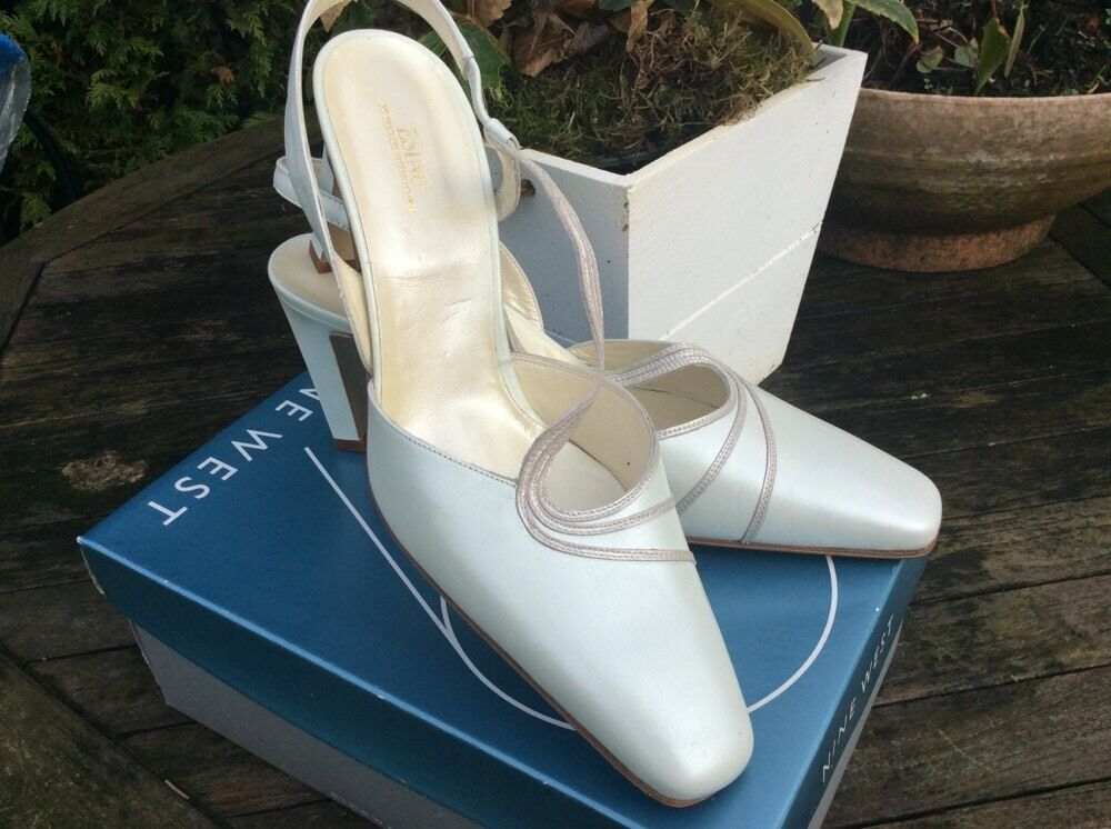 New Esino Size 6.5uk Full Oyster Leather High Heel Slingbacks Wedding