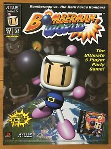 Bomberman-World-PS1-Playstation-1-PS1-PSX-1990-039-s-Game-Poster-Ad-Art-Atlus-Rare