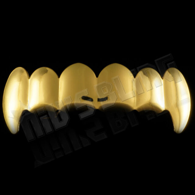18K Gold Plated Vampire Fang Hip Hop Top GRILLZ Teeth Grill *BEST QUALITY!