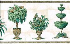 White Green Topiary Tree Plant Planter Urn Vase Pot Stone  Wall paper Border