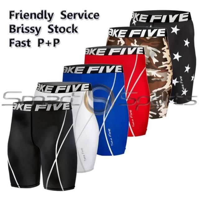 Mens Compression Shorts Knee Length Pants Leggings AFL Rugby Skins Take 5