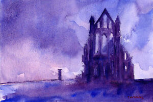 Whitby-Abbey-POSTCARD-Steve-Greaves-Watercolour-Goth-Landscape-Painting-Art