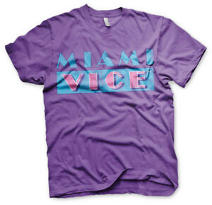 Miami Vice Distressed Logo 80s Tv Serie T-Shirt M?nner Men Lila Purple