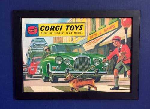 Corgi Spielsachen 1963 Vintage Katalog Deckel Gerahmt A4 Größe Plakat Sign