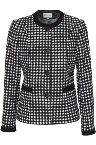 Busy Ladies Black and White Jacket Round Neck
