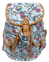 Grey Owl Print Women's Canvas Backpack Leather Trim Drawstring Padded Strap 16h