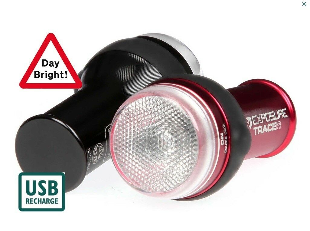 Exposure Lights Trace & TraceR Rechargeable Bicycle Lights with Daybright Pulse