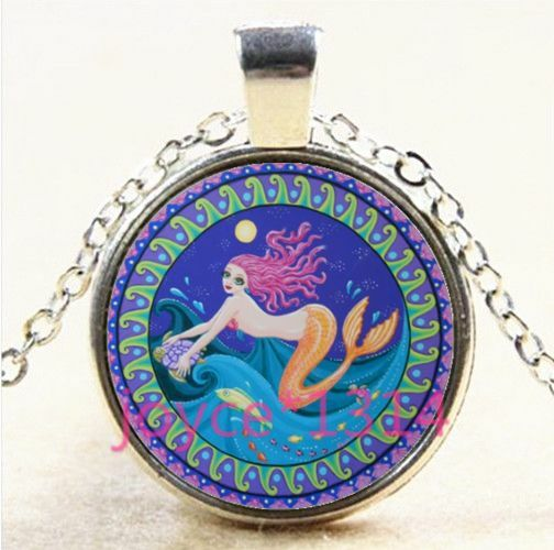 Mermaid Photo Cabochon Glass Tibet Silver Chain Locket Pendant Necklace