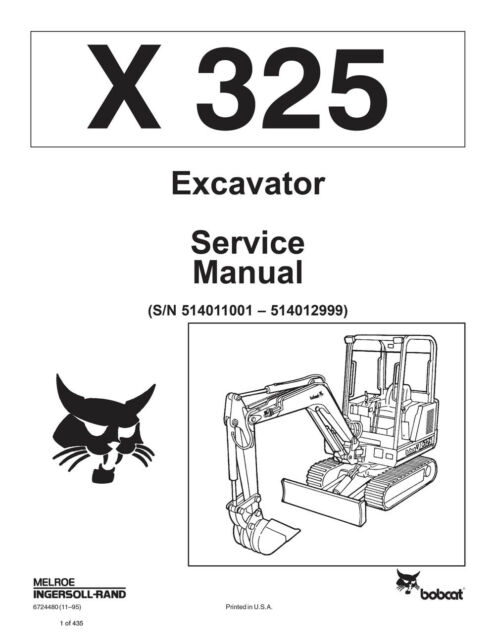 Bobcat X325 325 Compact Excavator Service Manual Shop Repair Book 2 #  6724480
