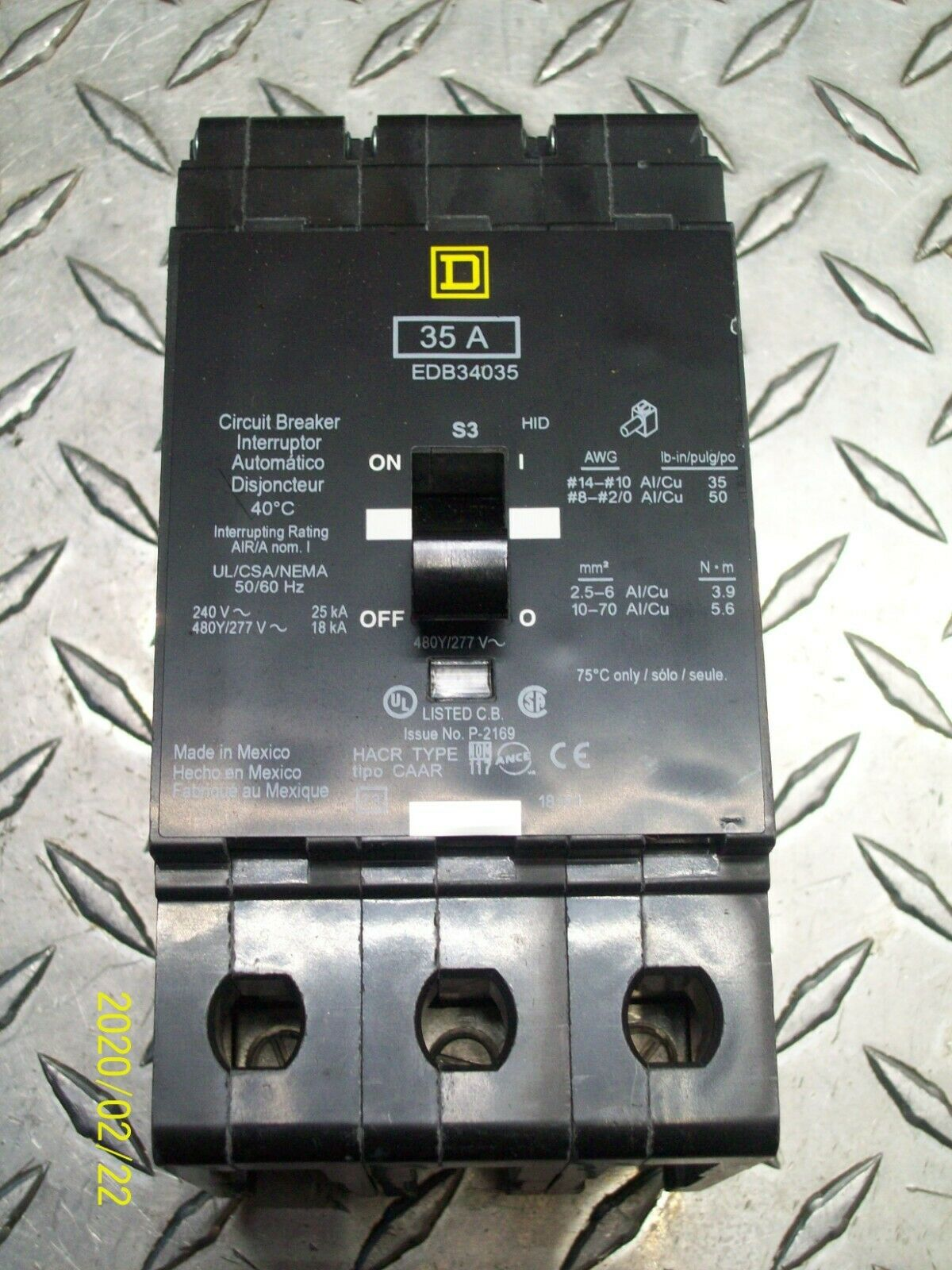 SQUARE D EDB34035 35 AMP  3 POLE EDB CIRCUIT BREAKER 1 YEAR WARRANTY
