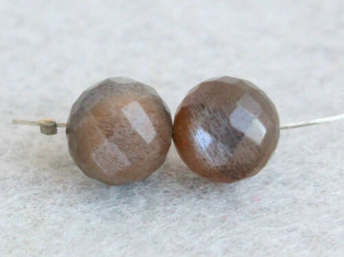 7mm AAA Natural Brown Moonstone Faceted Round Ball Gemstone Pair Beads