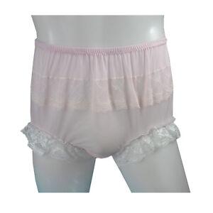 d67c5460a0dd Fair Pink Mens High-Waist Briefs Panties Lace Front & Trim Nylon ...