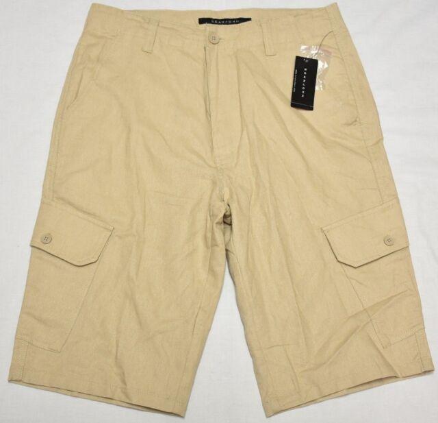 Sean John Shorts Men's Size 30 Linen Blend Cargo Khaki Urban Streetwear P044