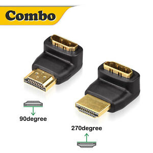 Gold Plated HDMI 90 Degree and 270 Degree Male to Female Adapter Supports 3D 4K