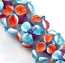 Lampwork Glass Rondelle orange blue Flower Beads (12)