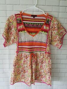 Kenzo Switching Blouse Orange Top Knit Pink M Floral Size Crochet rZwxgqrO