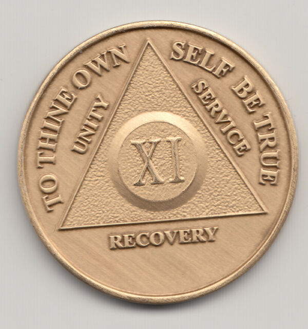 11 XI Years - Alcoholics Anonymous recovery medal token chip coin