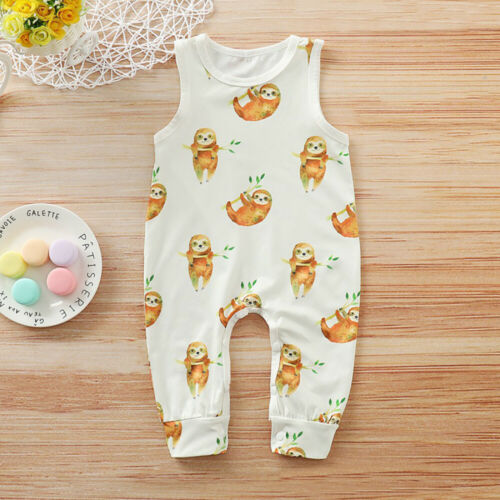 Toddler Cotton Outfits Sleeveless Jumpsuit Boy Girl Clothes Cute Sloths Romper
