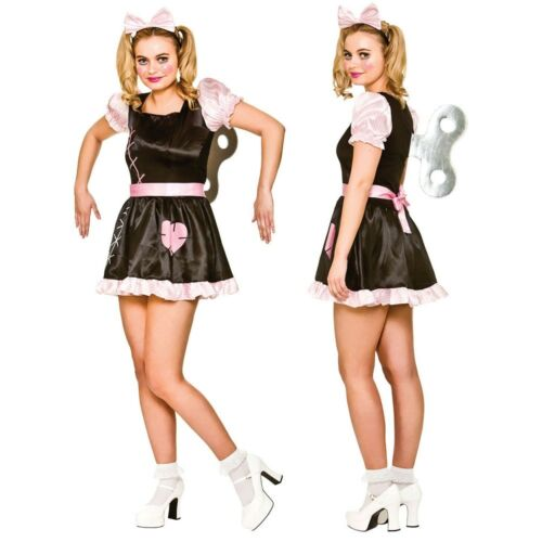 Wind Up Doll Dress Up Halloween Dolly Glamour Adults Womens Fancy Dress Costume