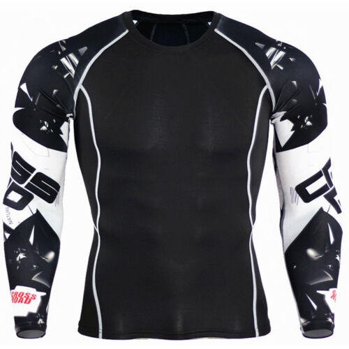 Men Compression T Shirt Under Thermal  Base Layer Sports Long Sleeve Fiitness US