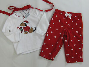 NWT Carter's Girls Size 12 Months Puppy Dog Christmas Polka ...