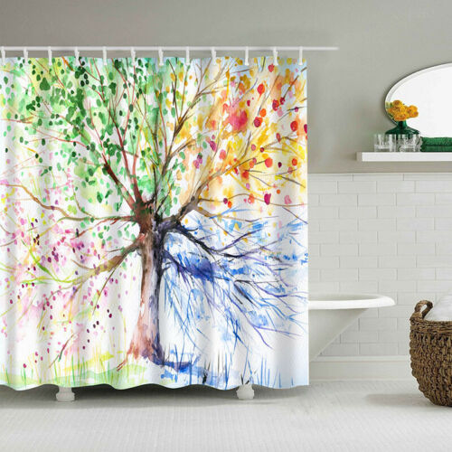 Colorful Tree Printed Shower Curtain Bathroom Decor Waterproof Fabric Home Bath