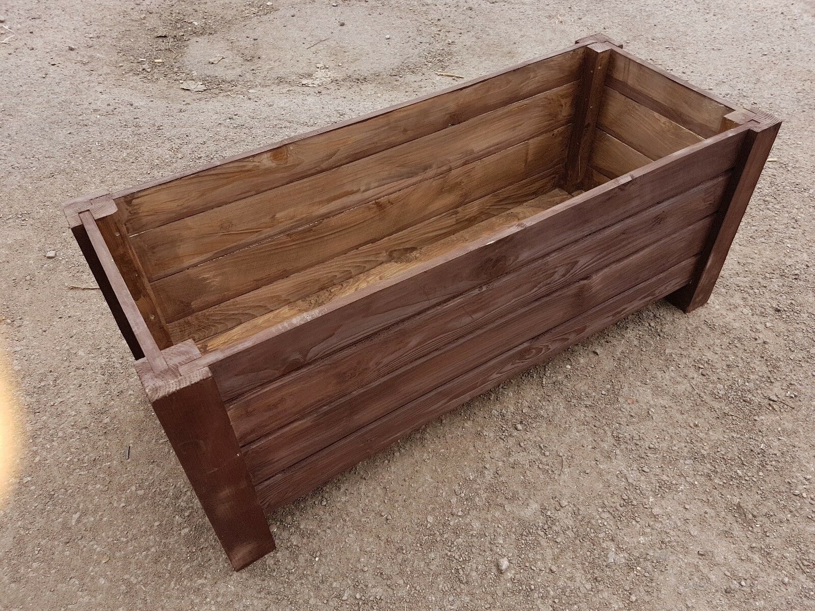 Very Big Wooden Pot 100 cm Long of Solid Wood Spruce in Ebony Farbe
