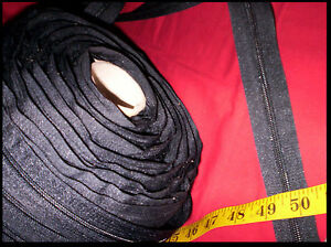60ft/ 20yd Nylon Coil CONTINUOUS ZIPPER Chain #5 BLACK. Upholstery Cushions