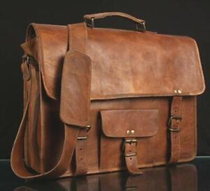 Real-Vintage-Laptop-Men-039-s-Genuine-Leather-Satchel-Laptop-Shoulder-Messenger-Bag