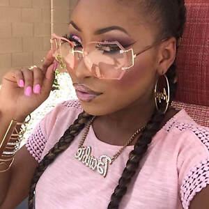 Women-Oversized-Rimless-Sunglasses-Color-Transparent-Lens-Metal-Frame-Retro