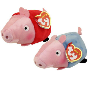 Set of 2 Ty Beanie Boo Teeny Tys Peppa George Pig New Heart Tags ... 8ee9c7ec252