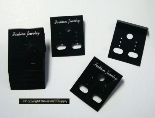 25 BLACK acrylic earring display cards pierced clip on jewelry display JD038