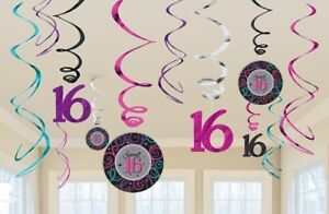 12-Sparkly-Sweet-16-Hanging-Swirls-Cutouts-Party-Decorations-Girls-16th-Birthday