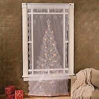 Unique White Lace Window Curtain Panel W/ Clear Lighted Christmas Tree 84 X 40