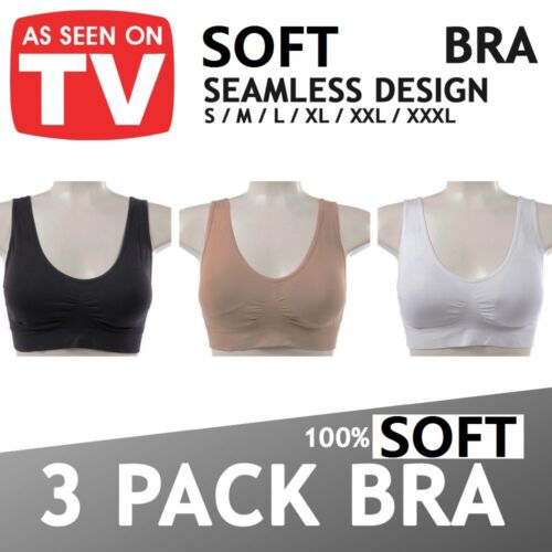1 PACK=1 Bra WOMEN COMFY SEAMLESS WIRELESS SPORTS LINGERIE CROP VEST SUPPORT BRA