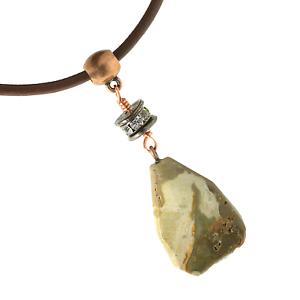 Unisex-Petrified-Wood-Faceted-Pendant-Necklace-Leather-Cord-Copper-Wire-Wrap