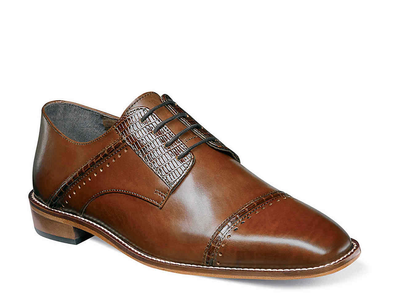 Size 8 M COGNAC BROWN Stacy Adams Adams Adams Uomo Ryland Cap toe Oxford Pelle dress Shoes 77bb52