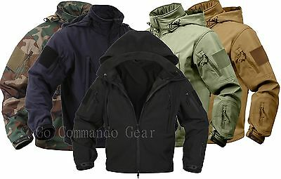 Olive Drab Special Ops Soft Shell Waterproof Military Jacket w// US Flag Patches