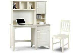 Details About Stone White Desk Chair Hutch Top Home Office Furniture Set